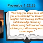 Proverbs 1:20-23  A voice is crying out to the naïve to turn, listen and become wise